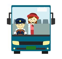 観光バス 運転手とガイド