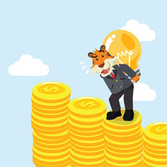 business tiger carrying bulb on coin