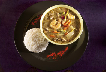 Delicious Thai curry with jasmine rice