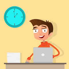 Young man working at a computer in the office. On the table, a large stack of papers and a large clock on the wall. Cartoon character in flat style