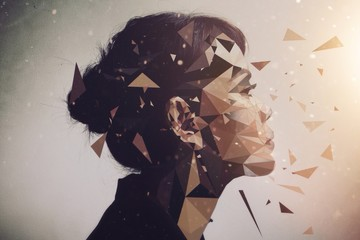 A young woman surrounded by geometric shapes.
