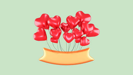 3d rendering picture of golden banner with heart shape balloons. Romantic Valentine's Day greeting card. Green color background.