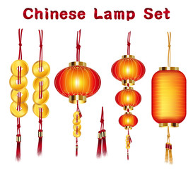 a real chinese lantern and gold set vector