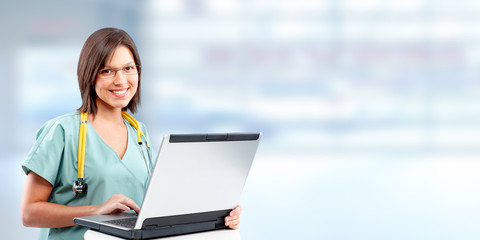 Doctor woman with laptop