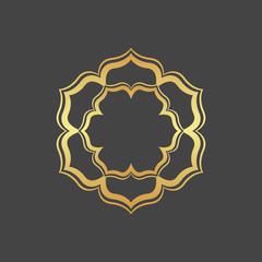 Abstract gold hexagonal frame.