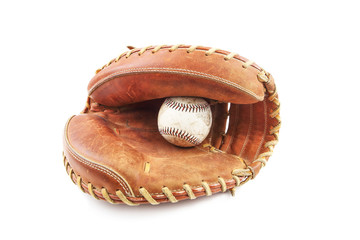 Baseball in catcher's glove