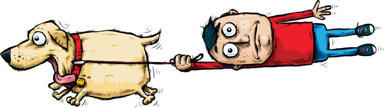 A cartoon man being pulled off of his feet by an excited, running pet dog.