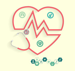 Red Stethoscope in shape of heart with science icons, Vector illustration modern layout template design