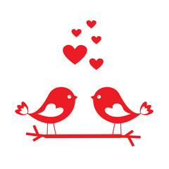 Aluminium Prints Birds, bees Love birds with red hearts - card for Valentine's day