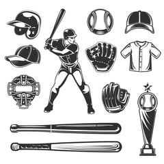 Set of vector baseball icons