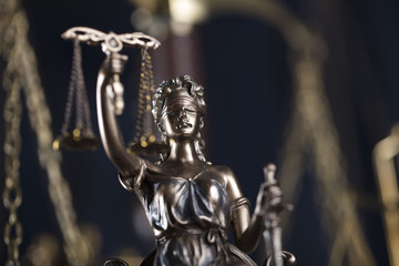 Statue of justice, scales of justice