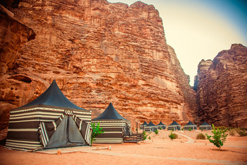Camping along the rocks in Petra, Wadi Rum. Jordan