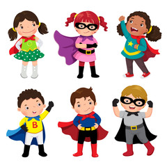 Boys and girls in superhero costumes on white background
