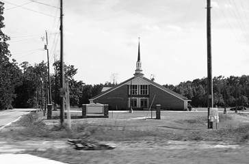 country outdoors farm city church black white