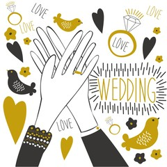 "Cute illustration of a ""Wedding."" The cartoon hands of the bride and groom with wedding ring, hand lettering and other wedding symbols."