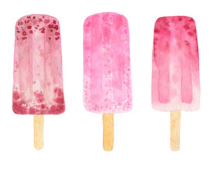 Three watercolor fruit popsicle