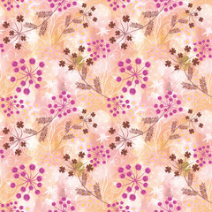 Seamless floral pattern,orange -pink flowers ,grey , brown twigs on a beige watercolor background.