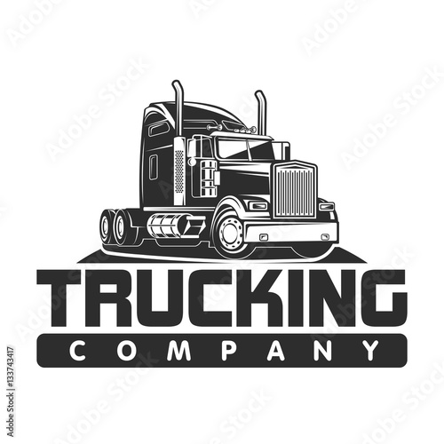 quottrucking company logo black and white vector illustration