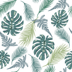 Tropical trendy seamless pattern with exotic plant leaves