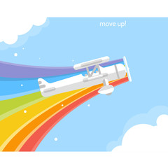 Airplane with a rainbow flying in the sky. Vector flat illustration.