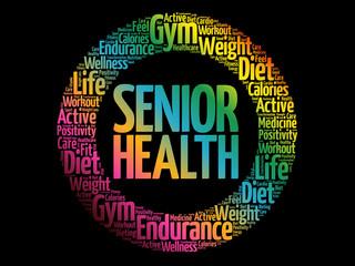 Senior health word cloud collage, health concept background