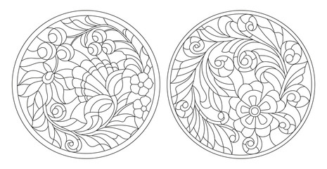 Set contour illustrations of the round stained glass with swirls and flowers