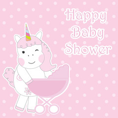 Baby shower card with cute unicorns brings baby cart suitable for baby shower greeting card, postcard and invitation card