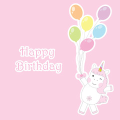 Birthday card with cute unicorns brings colorful balloons suitable for birthday greeting card, postcard and invitation card