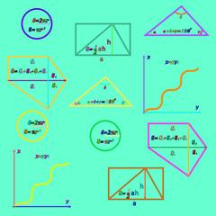Забавная цветная математика в картинках. Векторная иллюстрация