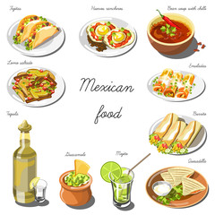 Mexican cuisine set. Collection of food dishes