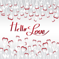 Paper hearts on stems with leaves with shadow on grey background. Space for text. Hello love