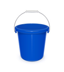 Blue plastic empty bucket with handle for cleaning and
