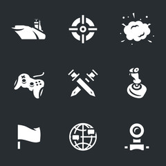 Vector Icons Set of Ship Video Games.