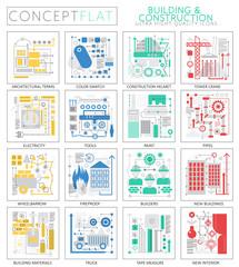 Infographics mini concept building construction tools technology icons for web. Premium quality design web graphics icons elements. building construction concepts.