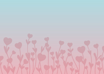 Pink silhouette hearts on stems with leaves on pink and blue gradient background.  Vector art for save the date card, wedding invitation or valentine's day card. Space for text