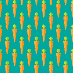 Carrot stock vector seamless pattern on green blue background for wallpaper, pattern, web, blog, surface, textures, graphic & printing