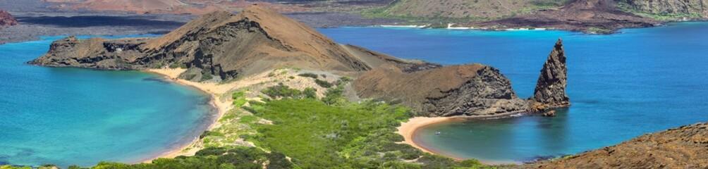 Panorama view Bartolomé Island with Pinnacle Rock, Galapagos Islands