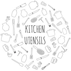 Kitchen utensils round set. Hand drawn kitchenware and cutlery