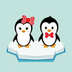 penguin girl and boy on ice