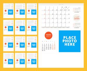 Calendar Template for 2017 Year. Week Starts Monday. Set of 12 Months. Stationery Design. Vector Illustration