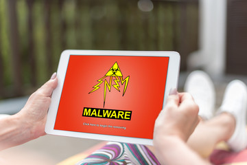 Malware concept on a tablet