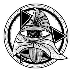 All seeing eye. Blackwork tattoo flash. Eye of Providence. New World Order. Sacred geometry, religion, spirituality, occultism background. Tattoo design, mystic symbol. Isolated vector illustration