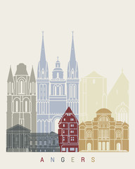 Wall Mural - Angers skyline poster