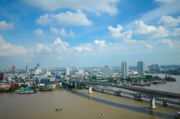 Aussicht auf dem Chao Phraya in Bangkok, Thailand
