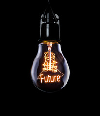 Hanging lightbulb with glowing Future concept.