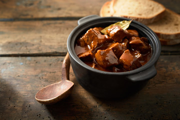 Seasoned Hungarian goulash in a rich gravy