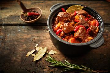Pot of hungarian goulash