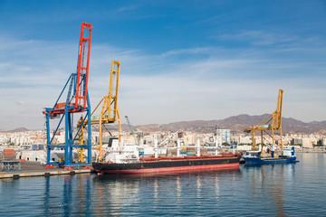 Huge Freighter in Malaga Spain