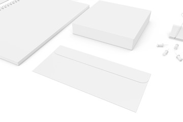 White blank ultimate set of printing materials template for branding identity. 3d rendering