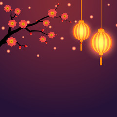 Chinese style background with lanterns and floral branch